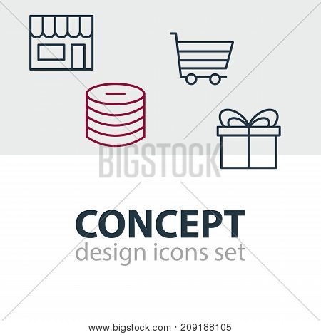 Editable Pack Of Minus, Market, Present And Other Elements.  Vector Illustration Of 4 Wholesale Icons.