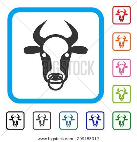 Bull Ring icon. Flat gray iconic symbol inside a light blue rounded squared frame. Black, gray, green, blue, red, orange color additional versions of Bull Ring vector. Designed for web and app UI.