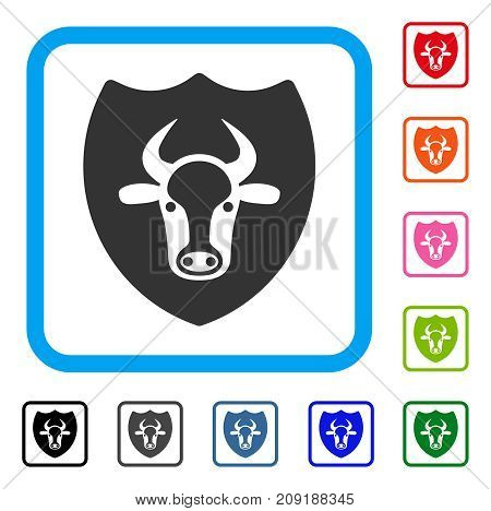 Bull Shield icon. Flat grey iconic symbol in a light blue rounded square. Black, gray, green, blue, red, orange color variants of Bull Shield vector. Designed for web and software user interface.