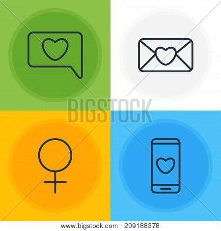 Editable Pack Of Messenger, Invitation, Woman And Other Elements.  Vector Illustration Of 4 Passion Icons.