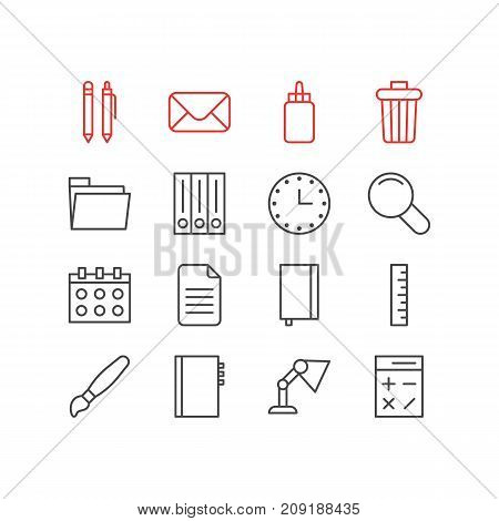Editable Pack Of Textbook, Archive, Paint And Other Elements.  Vector Illustration Of 16 Tools Icons.