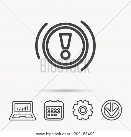 Warning icon. Dashboard attention sign. Caution exclamation mark symbol. Notebook, Calendar and Cogwheel signs. Download arrow web icon. Vector