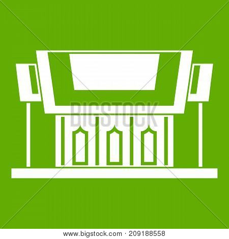 Thailand Temple icon white isolated on green background. Vector illustration