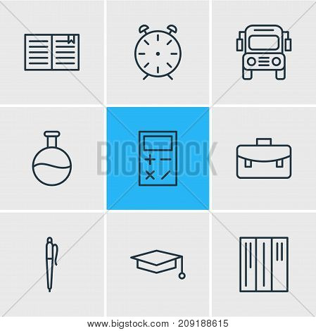 Editable Pack Of Cap, Bookshelf, Pencil And Other Elements.  Vector Illustration Of 9 Science Icons.