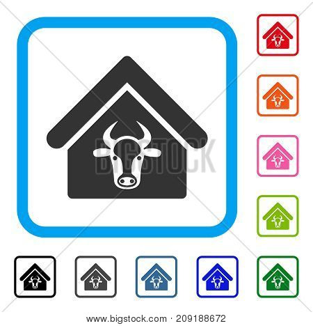 Cattle Farm icon. Flat grey iconic symbol in a light blue rounded rectangle. Black, gray, green, blue, red, orange color versions of Cattle Farm vector.