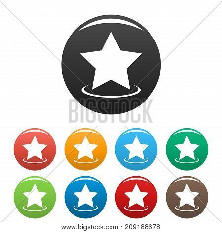 Star icons set. Vector simple set of star vector icons in different colors isolated on white