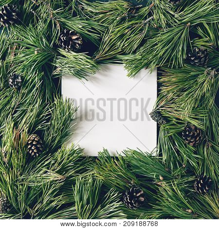 Creative background of pine branch and cones with white paper card. New Year and Merry Christmas Concept. Flat Lay