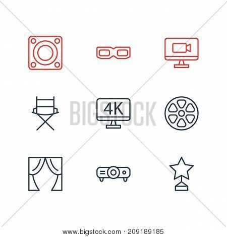 Editable Pack Of Movie Reel, Slideshow, Loudspeaker And Other Elements.  Vector Illustration Of 9 Film Icons.