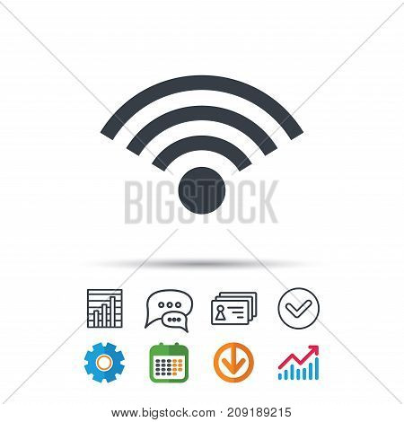Wifi icon. Wireless internet sign. Communication technology symbol. Statistics chart, chat speech bubble and contacts signs. Check web icon. Vector