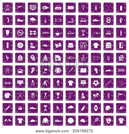 100 sport club icons set in grunge style purple color isolated on white background vector illustration