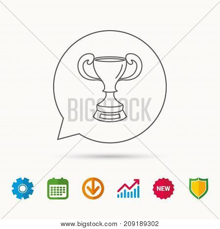 Winner cup icon. Award sign. Victory achievement symbol. Calendar, Graph chart and Cogwheel signs. Download and Shield web icons. Vector