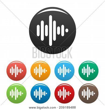 Sound wave icons set. Vector simple set of sound wave vector icons in different colors isolated on white