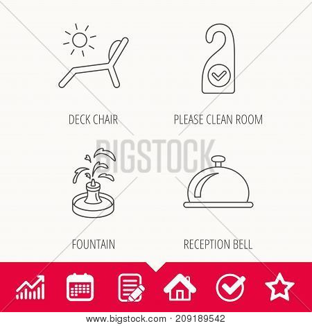 Reception bell, fountain and beach deck chair icons. Clean room linear sign. Edit document, Calendar and Graph chart signs. Star, Check and House web icons. Vector