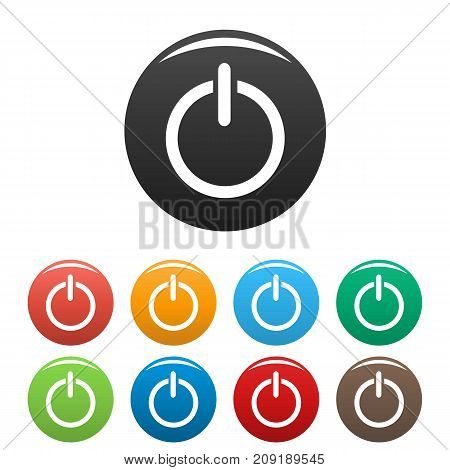 Power icons set. Vector simple set of power vector icons in different colors isolated on white
