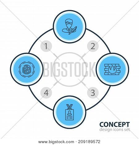 Editable Pack Of Network Protection, Finger Identifier, Copyright And Other Elements.  Vector Illustration Of 4 Security Icons.