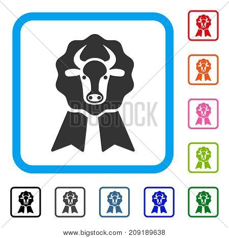 Cow Award Seal icon. Flat gray pictogram symbol in a light blue rounded squared frame. Black, gray, green, blue, red, orange color variants of Cow Award Seal vector.