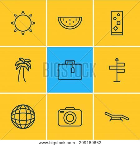 Editable Pack Of Melon , Island , Longue Elements.  Vector Illustration Of 9 Summer Icons.