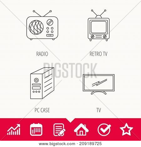 Retro TV, radio and PC case icons. Computer linear sign. Edit document, Calendar and Graph chart signs. Star, Check and House web icons. Vector