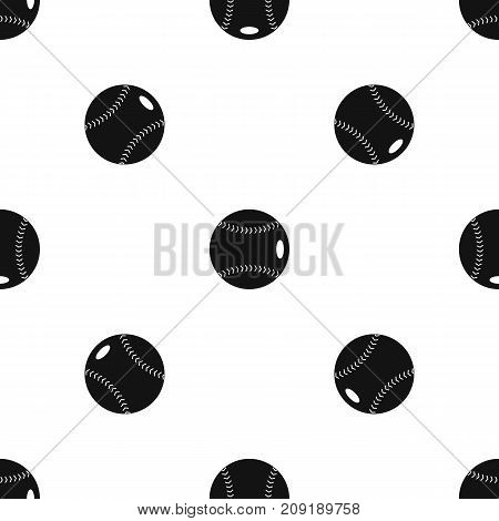 Baseball ball pattern repeat seamless in black color for any design. Vector geometric illustration