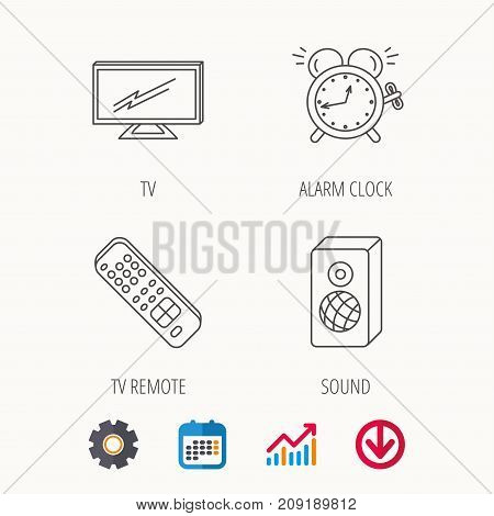 TV remote, alarm clock and sound icons. Widescreen TV linear sign. Calendar, Graph chart and Cogwheel signs. Download colored web icon. Vector