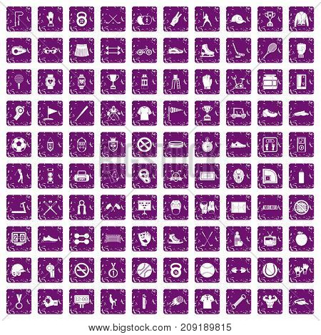 100 sport equipment icons set in grunge style purple color isolated on white background vector illustration