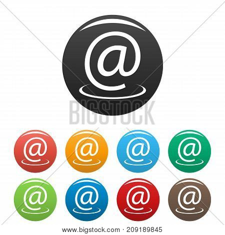 Email address icons set. Vector simple set of email address vector icons in different colors isolated on white