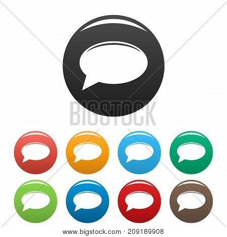 Chat icons set. Vector simple set of chat vector icons in different colors isolated on white