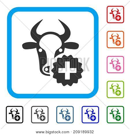 Cow Create icon. Flat gray iconic symbol inside a light blue rounded rectangular frame. Black, gray, green, blue, red, orange color versions of Cow Create vector.