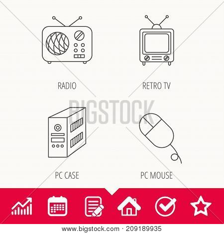Radio, retro TV and PC mouse icons. PC case linear sign. Edit document, Calendar and Graph chart signs. Star, Check and House web icons. Vector