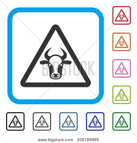Cow Danger icon. Flat grey iconic symbol in a light blue rounded frame. Black, gray, green, blue, red, orange color variants of Cow Danger vector. Designed for web and app user interface.