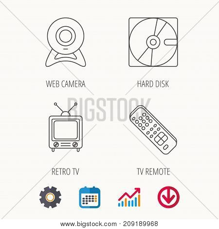 Web camera, retro TV and hard disk icons. TV remote linear sign. Calendar, Graph chart and Cogwheel signs. Download colored web icon. Vector