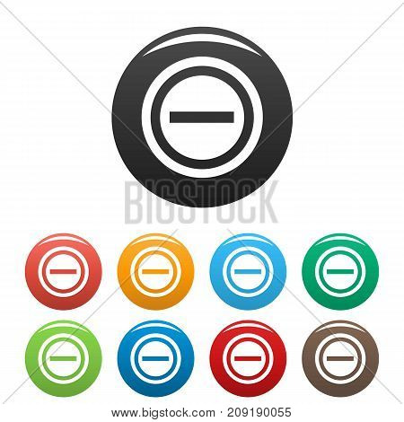 Minus icons set. Vector simple set of minus vector icons in different colors isolated on white