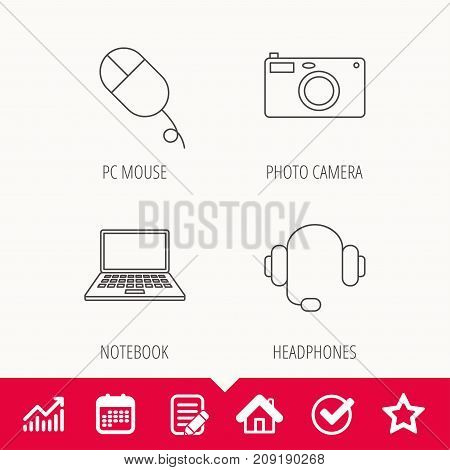 Photo camera, headphones and notebook laptop icons. PC mouse linear sign. Edit document, Calendar and Graph chart signs. Star, Check and House web icons. Vector