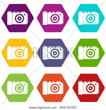 Photo camera icon set many color hexahedron isolated on white vector illustration