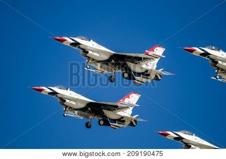 Boise Idaho USA - October 15 2017. United States Air Force Thunderbirds performing at the Gowen Thunder airshow on October 15. 2017.