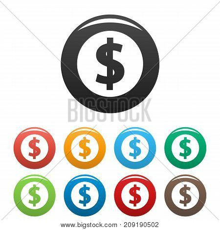 Dollar icons set. Vector simple set of dollar vector icons in different colors isolated on white