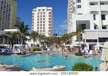 Swimming pool at a major  resort hotel on the Atlantic Ocean in Miami Beach,Florida.  Photographed on 15 October 2017 a little more than week after hurricane Irene.
