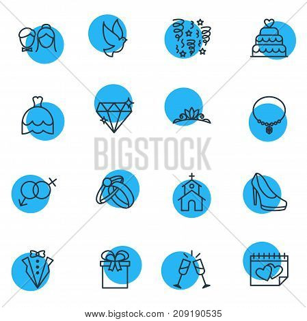 Editable Pack Of Decoration, Couple, Present And Other Elements.  Vector Illustration Of 16 Marriage Icons.