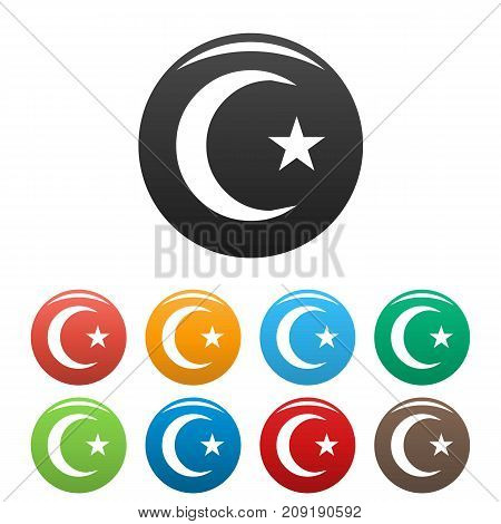 Islamic crescent moon icons set. Vector simple set of islamic crescent moon vector icons in different colors isolated on white