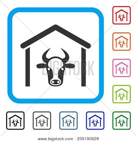 Cow Garage icon. Flat grey pictogram symbol inside a light blue rounded rectangle. Black, gray, green, blue, red, orange color additional versions of Cow Garage vector. Designed for web and app UI.