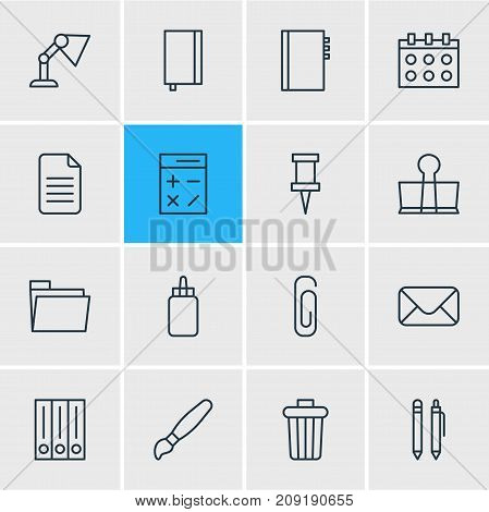 Editable Pack Of Calculate, Textbook, Garbage Container And Other Elements.  Vector Illustration Of 16 Tools Icons.