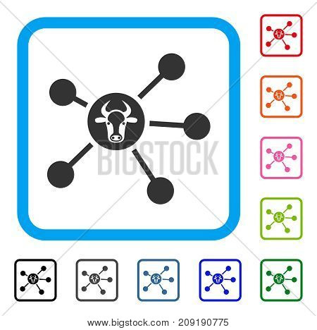 Cow Links icon. Flat gray iconic symbol in a light blue rounded squared frame. Black, gray, green, blue, red, orange color additional versions of Cow Links vector. Designed for web and app UI.