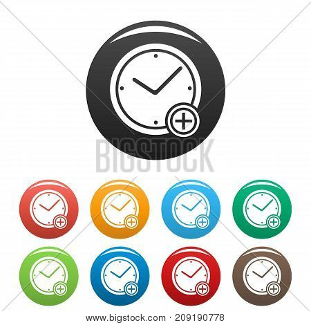 Time plus icons set. Vector simple illustration of time plus icons isolated on white background