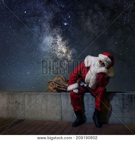 Santa Claus Magic Christmas night. Starry Night.