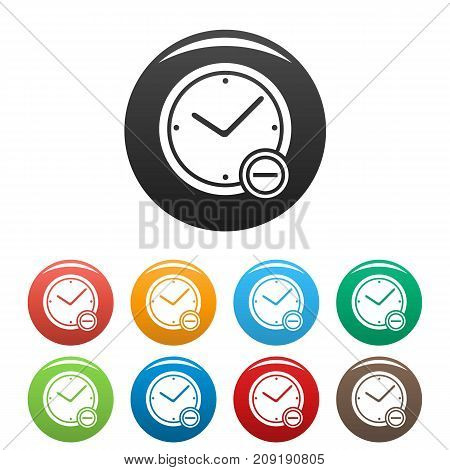 Time minus icons set. Vector simple illustration of time minus icons isolated on white background