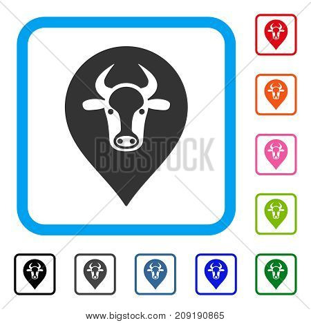 Cow Map Pointer icon. Flat gray iconic symbol in a light blue rounded rectangle. Black, gray, green, blue, red, orange color versions of Cow Map Pointer vector.