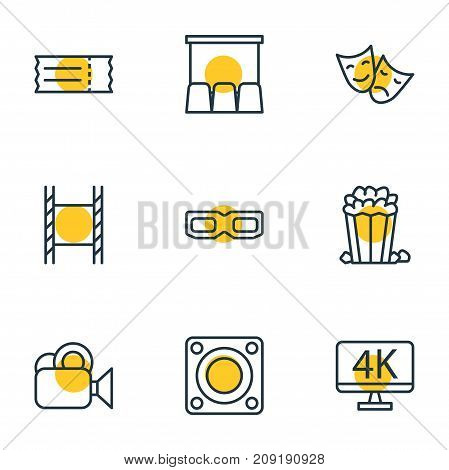 Editable Pack Of Filmstrip, Spectacles, Hall And Other Elements.  Vector Illustration Of 9 Cinema Icons.