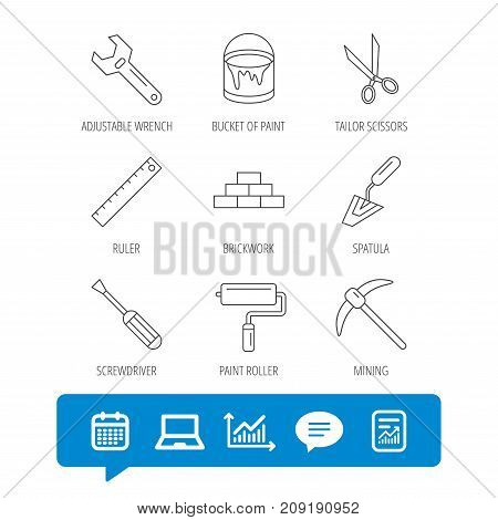 Screwdriver, scissors and adjustable wrench icons. Spatula, mining tool and paint roller linear signs. Brickwork, ruler and painting icons. Report file, Graph chart and Chat speech bubble signs