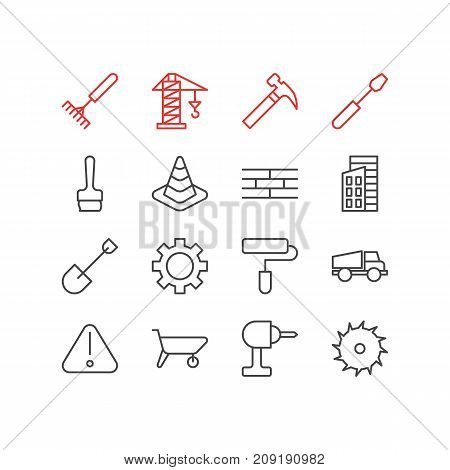 Editable Pack Of Cogwheel, Handcart, Spade Elements.  Vector Illustration Of 16 Industry Icons.
