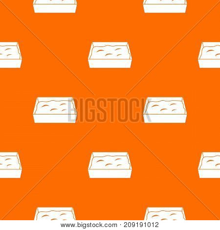 Cat toilet pattern repeat seamless in orange color for any design. Vector geometric illustration